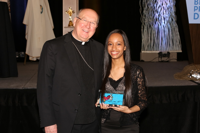 Bishop Farrell with Pro-Life Person of the Year Brandy Hayes