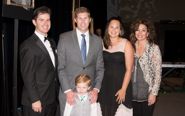 2015 Pro-Life Persons of the Year -- the Roos family with emcee Patrick Coffin and Kathy Troccoli